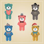 Cute Winter Funny Hipster Teddy Bear Vector Illustration, Isolated poster