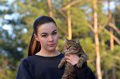 Girl with her cat .Ukraine poster