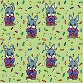 Seamless green background with bunny and candies poster