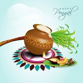 Happy Pongal, harvest festival celebration in South India with pongal rice in a traditional mud pot, sugarcane on beautiful floral (rangoli)  on nature background.  poster