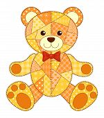 Application happy bear. Isolated on white. Vector children patchwork illustration. poster