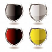 collection of four shields with silver bevel and light reflection poster