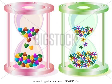 """Vector abstract color illustration of a sand-glass of pink and green color on a theme """" Time of love """". poster"""
