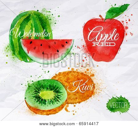 Fruit watercolor watermelon, kiwi, apple red
