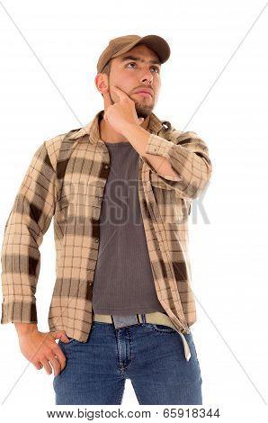 trucker man flannel cap