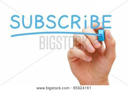 Hand writing Subscribe with blue marker on transparent wipe board. poster