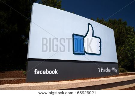 Facebook Corporate Headquarters Sign In Silicon Valley