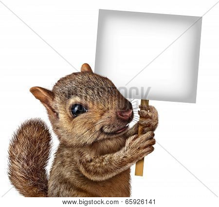 Squirrel Holding A Sign