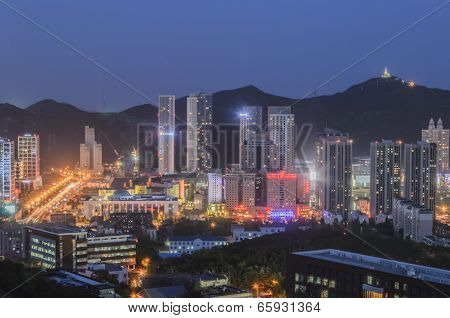 Aerial view of Dalian city night in China.