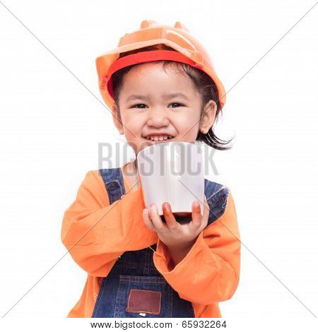 Smile Asian Engineer Baby Girl Holding The White Mug
