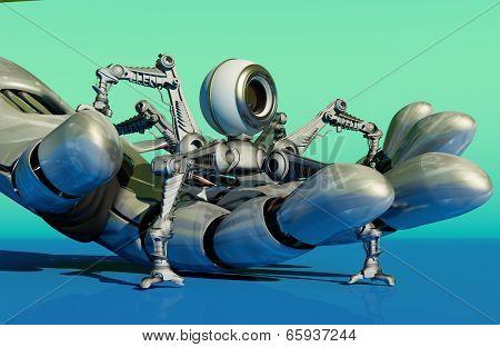 Robot webcam in a robot arm.