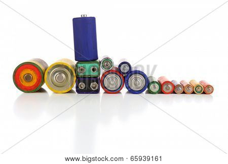 Alkaline batteries, isolated on white poster