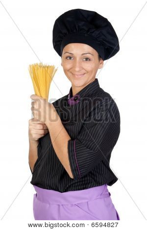 Pretty Cook Woman With Spaguettis