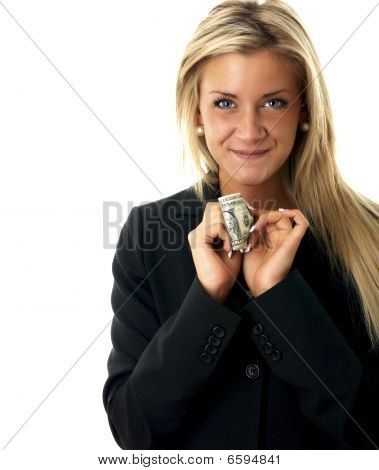 Happy girl with a dollar