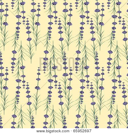 Lavander seamless pattern on yellow background