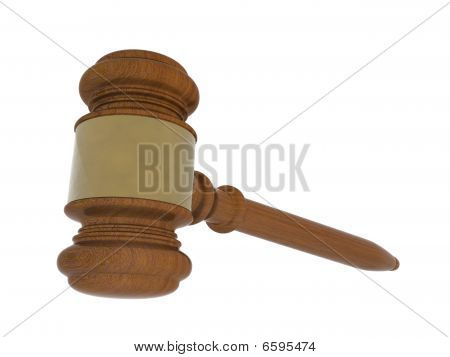 Wood Gavel On White Background