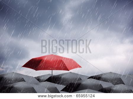 Umbrellas under rain and thunderstorm