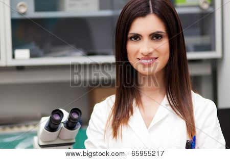 Female Scientist Working In Laboratory