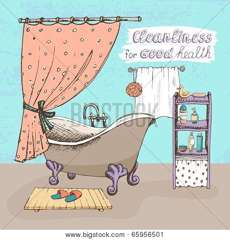 Cleanliness for good health concept showing a bathroom interior with a vintage ball and claw bathtub  shower curtain  and shelves containing toiletries for personal hygiene  vector illustration poster