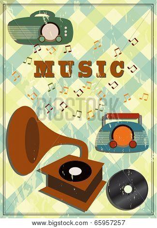 vintage gramophone and radio