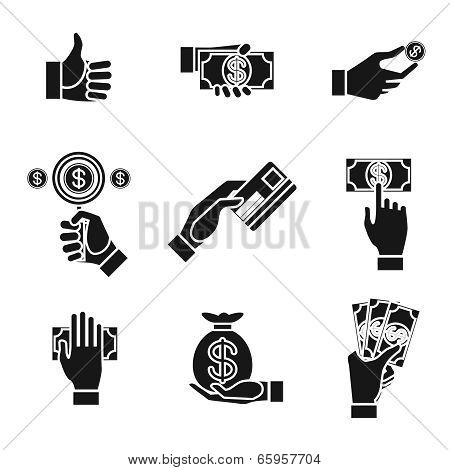 icons of hands holding money