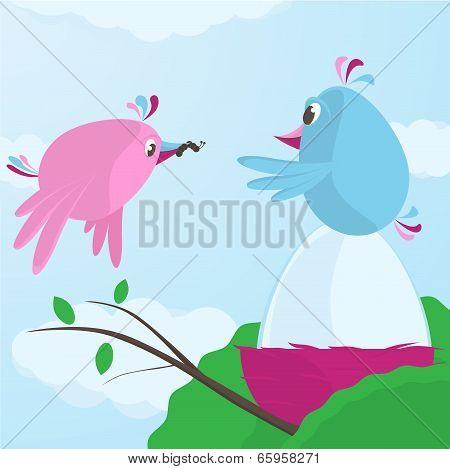 Cute Bird Feeding Her Mate As He Incubates The Egg