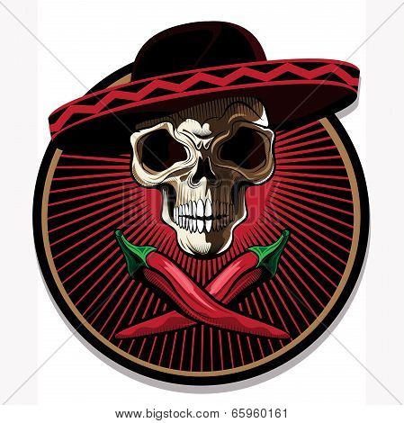 Mexican Skull Emblem Or Icon