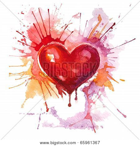 Red watercolor heart on the white background