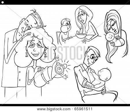 Parents And Kids Set Coloring Book