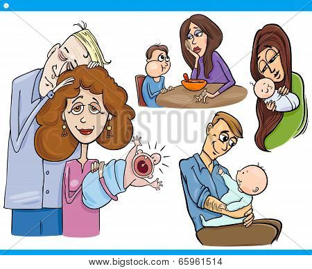 Parents And Kids Cartoon Set