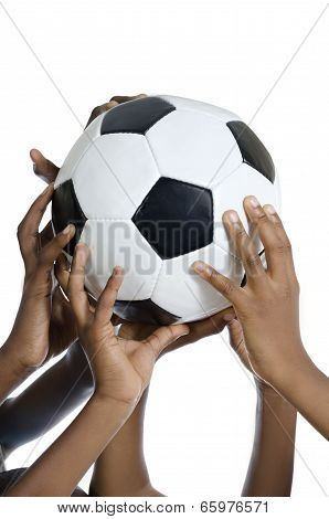 Happy African Kids Holding Football
