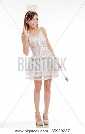 Beautiful Asian Woman In Angel Costume, Isolated