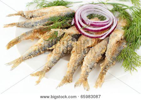 Roasted vendace fish