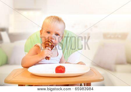 Child's Appetite, boy eat chiken