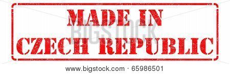 Made in Czech Republic  - inscription on Red Rubber Stamp Isolated on White. poster