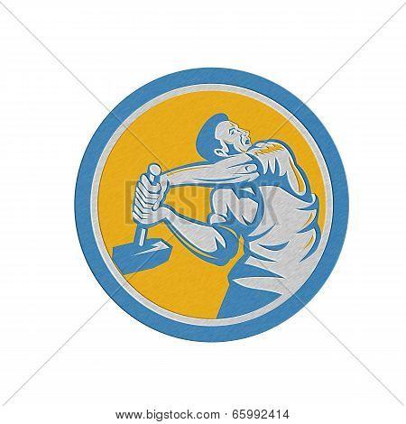 Metallic Union Worker Strike With Sledgehammer Retro