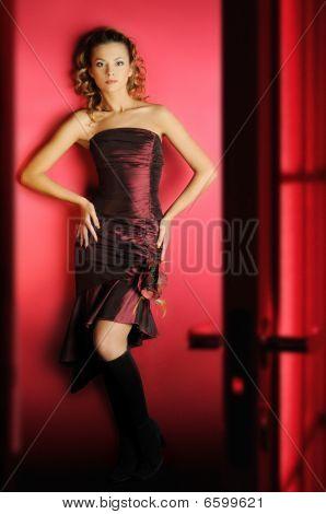 Girl in red room