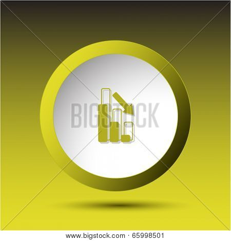 Graph degress. Plastic button. Vector illustration.