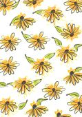 drawing of seamless yellow daisy pattern in a white background poster