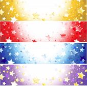 four horizontal banner with sparkling stars gold purplered and blue. poster