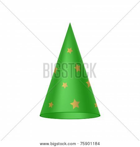Green sorcerer hat with golden stars