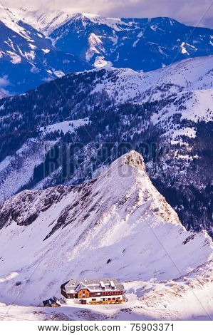 Morning panorama of Austrian alps from the top of Kaprun glacier