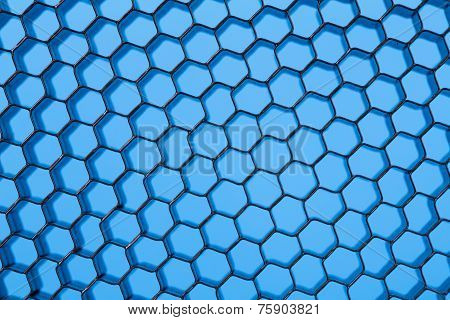 Honeycomb grid against blue background