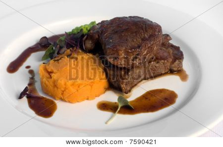 Sirloin Steak With Sweet Potato Mash