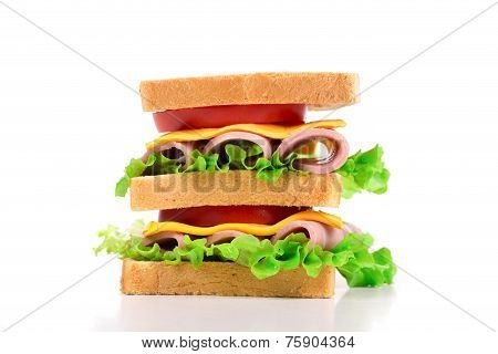 Delicious Sandwich closeup isolated on the white background poster