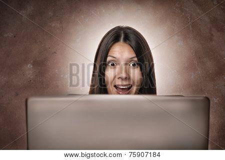 Attractive Businesswoman Looking In Amazement