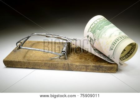 Dollar Banknote In Mousetrap