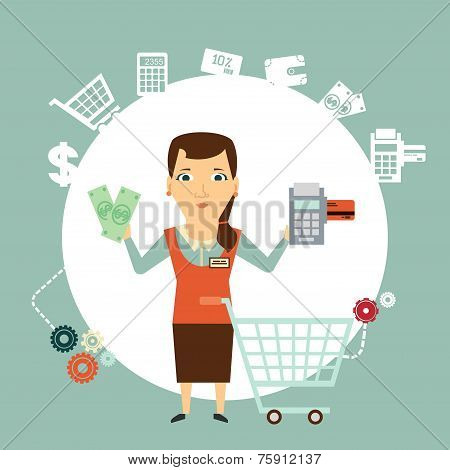 Buyer offers to pay in cash or card  illustration