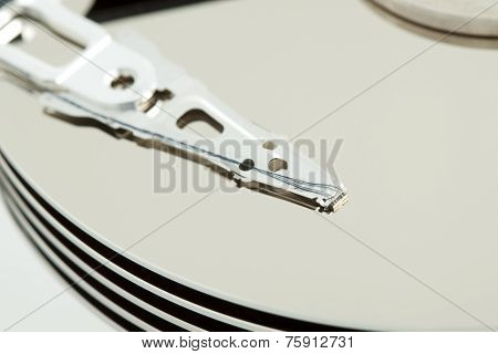 Inside Of Open And Corrupted Hdd Hard Drive Disk, Narrow Focus
