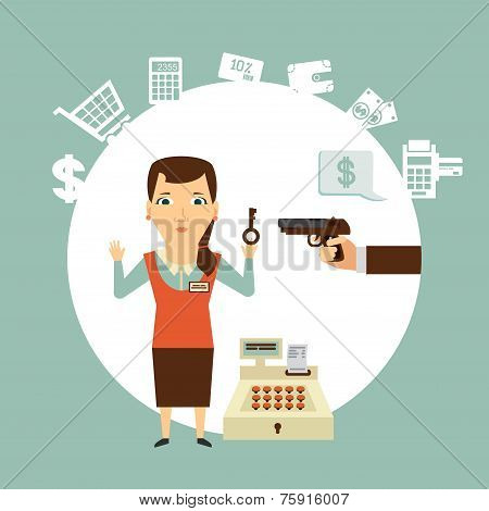 thief robs seller illustration